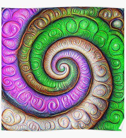 Fibonacci spiral #DeepDream #Art Poster
