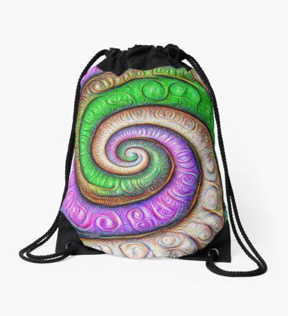 Fibonacci spiral #DeepDream #Art Drawstring Bag