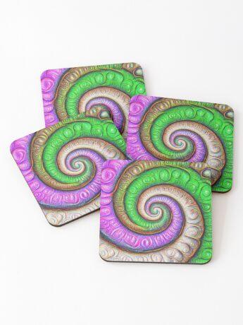 Fibonacci spiral #DeepDream #Art Coasters
