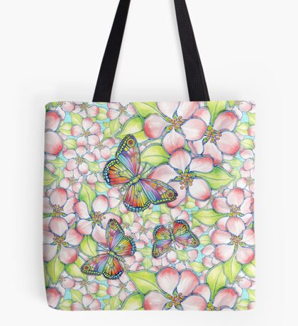 Rainbow Butterfly Blossoms Tote Bag