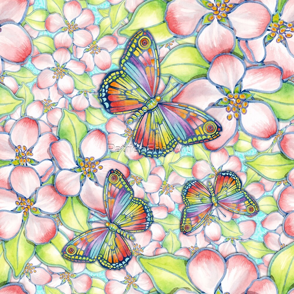 Rainbow Butterfly Blossoms by PatriciaSheaArt
