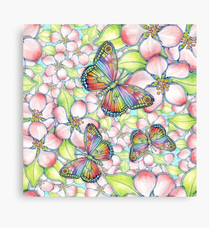 Rainbow Butterfly Blossoms Canvas Print