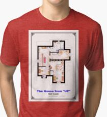The House from UP - First Floor Floorplan Tri-blend T-Shirt