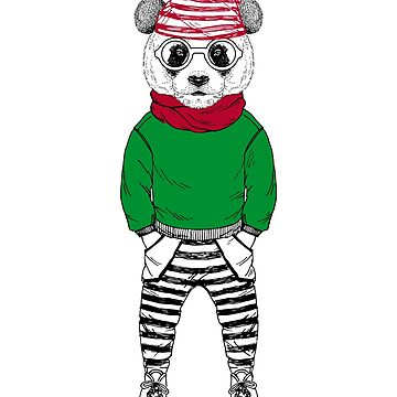 Christmas Panda Bear, Funny Christmas Gift With Bear Elf by Stella1