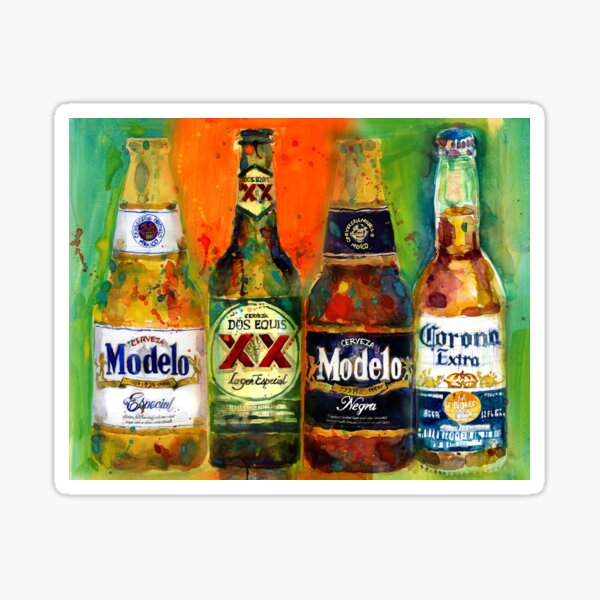 Mexican Beers  - Bright Colors - Bar Deco Sticker