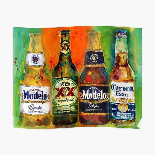 Mexican Beers  - Bright Colors - Bar Deco Poster