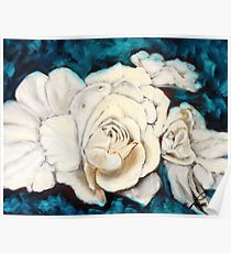 Gardenia on Blue Poster