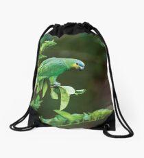 Orange-winged Parrot Drawstring Bag