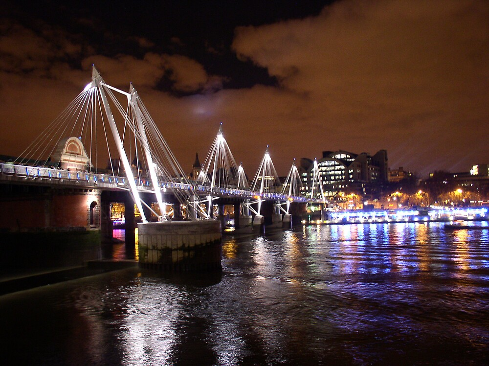 Night time bridge river Thames London by Martjack3