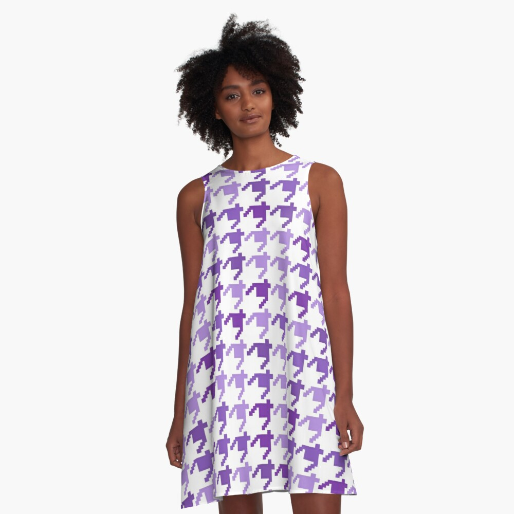 AFE Violet Houndstooth Pattern A-Line Dress Front