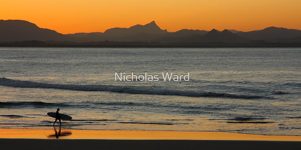 Sunset at Watego's Beach V by Nicholas Ward