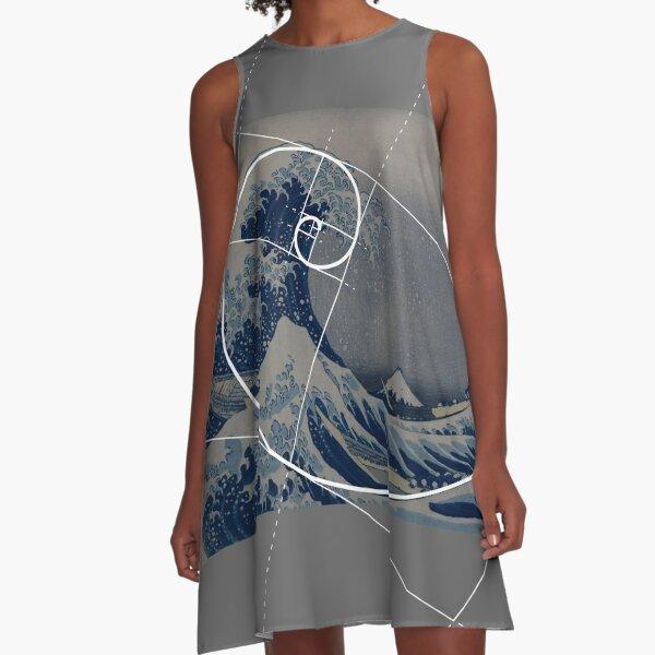 Hokusai Meets Fibonacci A-Line Dress