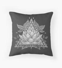 Grey Lotus Flower Geometric Design Throw Pillow