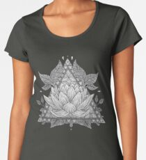 Camiseta premium para mujer Diseño geométrico de flor de loto gris
