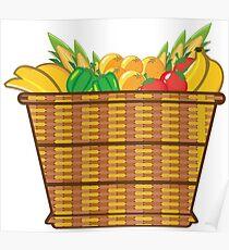 Basket fruits veggies Poster