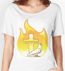 Fire Dove and Golden Cross Women's Relaxed Fit T-Shirt