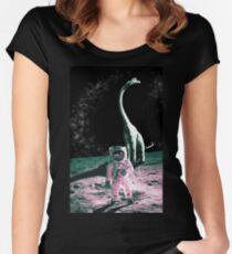 The Jurassic Astronaut (Pink) Women's Fitted Scoop T-Shirt