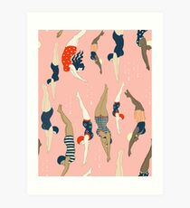 Diving ladies from a vintage era Art Print