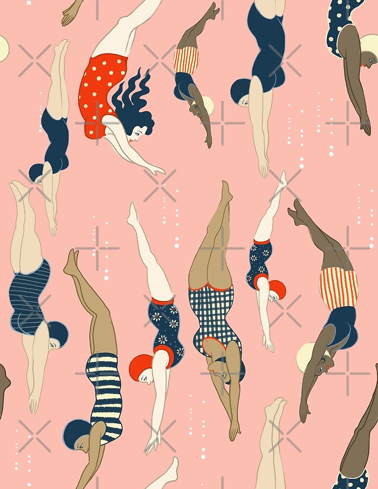 Diving ladies from a vintage era repeat pattern design. Lovely rose background  by Cecilia Granata