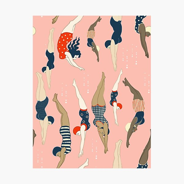 Diving ladies from a vintage era repeat pattern design. Lovely rose background  Photographic Print