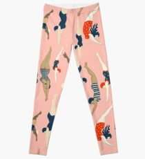 Diving ladies from a vintage era repeat pattern design. Lovely rose background  Leggings
