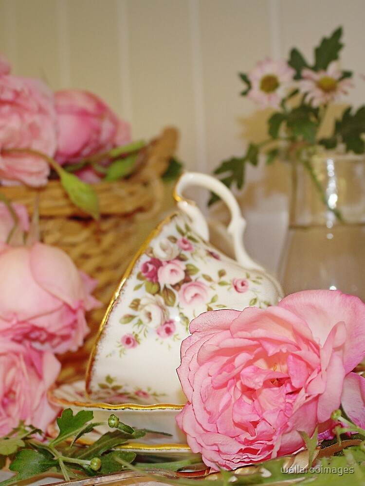 Teacup and Rose Still Life 1 by wallarooimages