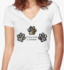 Big cat paws Women's Fitted V-Neck T-Shirt