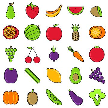 Fruits Cute Icons Set by Krukowski