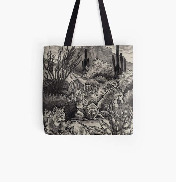 Desert Coyotes All Over Print Tote Bag