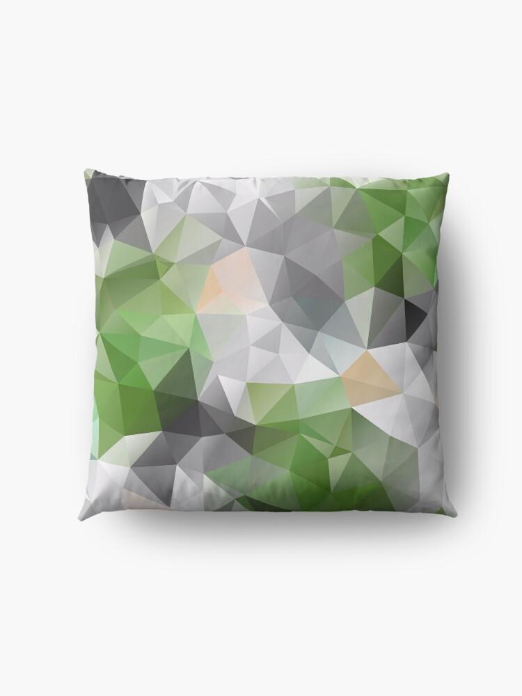 Alternate view of Grey green polygonal pattern Floor Pillow