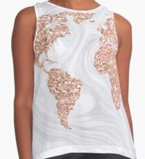 Rose Gold Glitter World Map on White Marble Contrast Tank