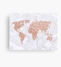 Lámina metálica Mapa del mundo de oro rosa con brillo en mármol blanco