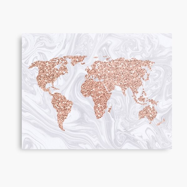 Rose Gold Glitter World Map on White Marble Metal Print