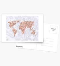 Rose Gold Glitter World Map on White Marble Postcards