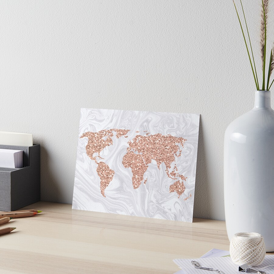 Rose Gold Glitter World Map on White Marble by julieerindesign