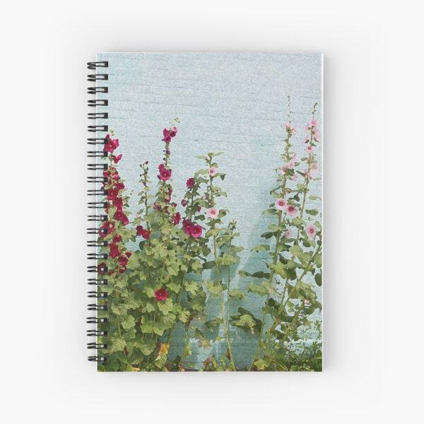 Hollyhock Flowers Pink and Burgandy Spiral Notebook