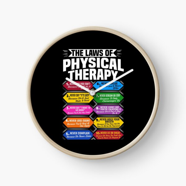 The Laws Of Physical Therapy Awesome Therapist Gift  Clock