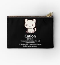 Cute Science Cat T-Shirt Kawaii Cation Chemistry Pawsitive Studio Pouch