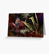 Two colourful Paper cranes in Christmas tree Greeting Card