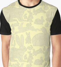 Monochrome seamless pattern with bunnies in lines Graphic T-Shirt