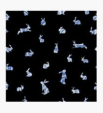 Monochrome seamless pattern with bunnies in lines Photographic Print