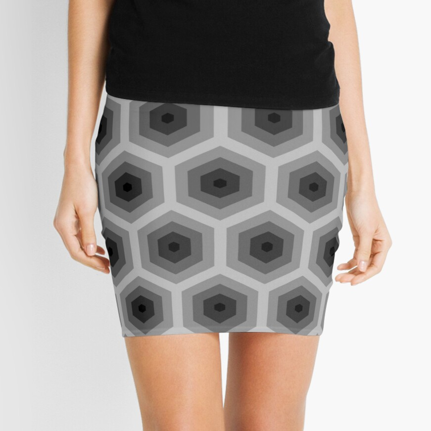 Geometric Pattern: Hexagon: Grey Mini Skirt
