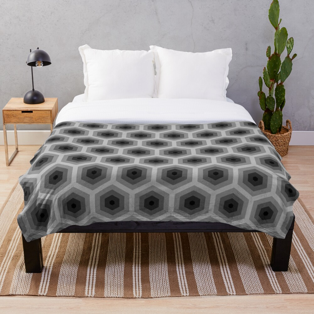 Geometric Pattern: Hexagon: Grey Throw Blanket