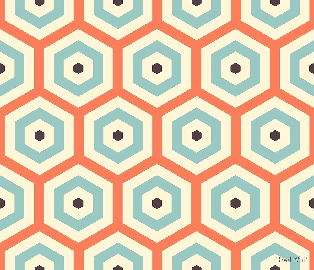 Geometric Pattern: Hexagon: Orange/Blue by * Red Wolf