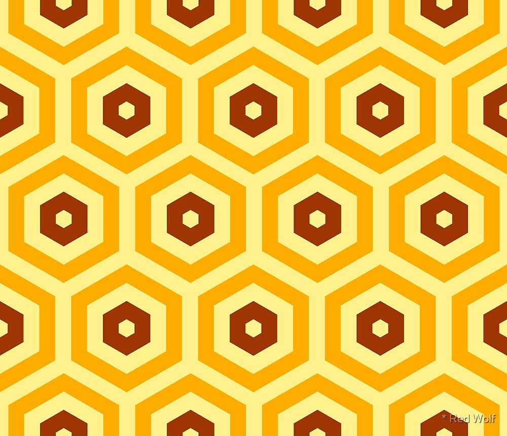 Geometric Pattern: Hexagon: Orange/Brown by * Red Wolf