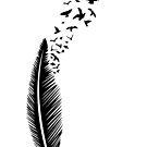 Feder mit Vogelschwarm. von Christine Krahl