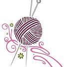 Stricknadeln mit Wolle und Blumen.  von Christine Krahl