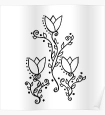 Three Tulips Doodle Art – Black and White Poster