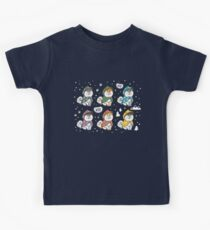 Husky puppies in colorful raincoats Kids Tee