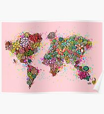 The World Succs ( Rose Gold Succulent Map ) Poster